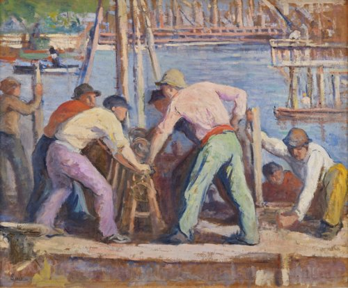 Maximilien LUCE (1858 - 1941) - Paris, workers on the banks of the Seine
