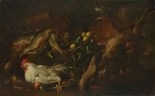 Antonio Vassallo (actif à Gênes vers 1620-1650)  - Nature morte au chat