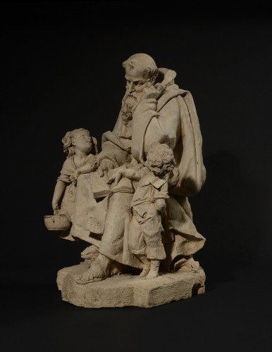 Hector Joseph LEMAIRE (1846-1933) - Monk learning to read to children - Sculpture Style