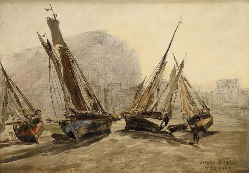 Jules NOËL (1810 -1881) - Fishing boats stranded at Tréport