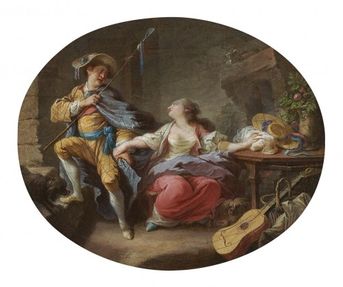 Jacques LARUE (1739 - 1804) - Young shepherdess and her lover / Young shepherdess and her mother