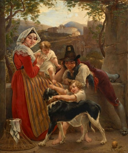 Louis RICQUIER (1792 –1884) - An Italian family in front of a landscape