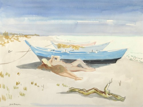 Yves BRAYER (1907 - 1990) - Nudes and boats on the beach of Saintes-Maries-de-la-Mer