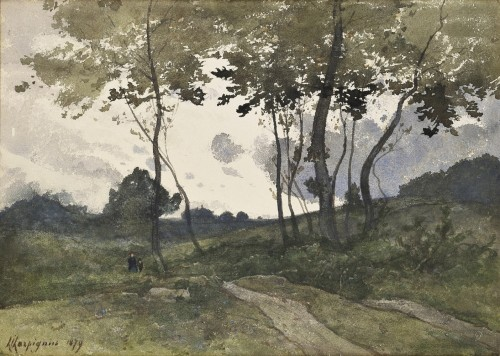 Henri Joseph HARPIGNIES (1819 -1916) - Path at dusk
