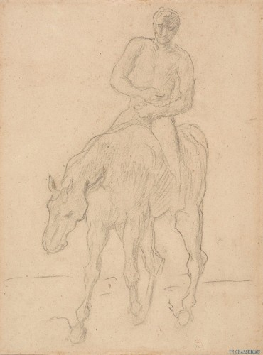 Théodore CHASSÉRIAU (1819 –1856) - Horseman, study for the Return of the wounded