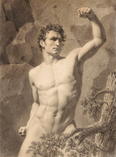 Attributed to Louis-Eugène LARIVIÈRE (1801 - 1823) - Academy of a man with his arm raised