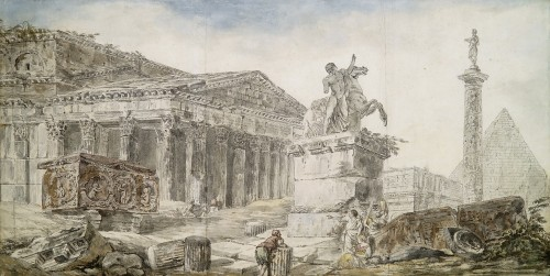 Hubert ROBERT (Paris 1733 – 1808), Caprice architectural