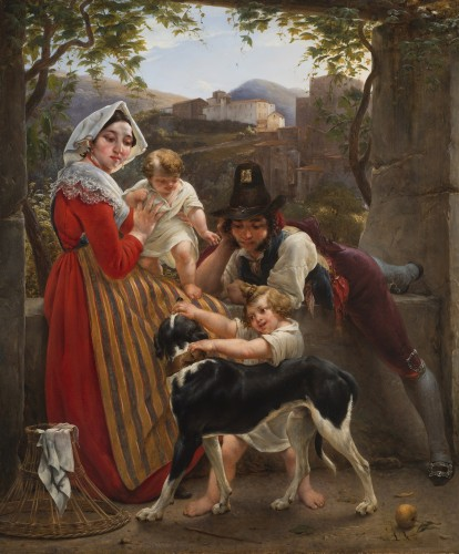 Louis RICQUIER (1792 - 1884) - An Italian family in front of a landscape