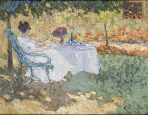 Louis Abel-Truchet (1857 –1918) - Woman in the garden reading