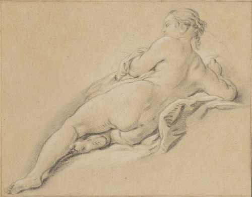 Jean-Baptiste DESHAYS (1729 - 1765) - Academy of a young woman lying down, seen from the back
