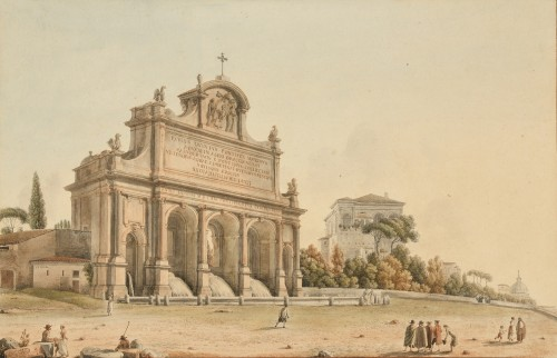 Victor-Jean Nicolle (1754-1826) - The fountain of the water paola on the mount Janiculum Rome