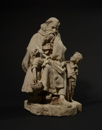 Hector Joseph LEMAIRE (1846 - 1933), A Monk Teaching Children to Read - Sculpture Style