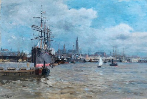 Edmond Petitjean (1844-1925) - Le port d'Anvers