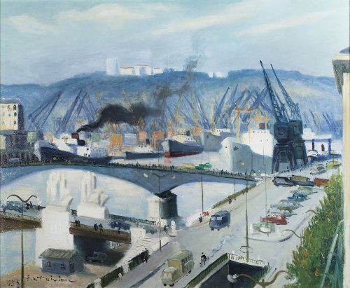 Pierre Le Trividic (1898-1960) - View of the port of Rouen