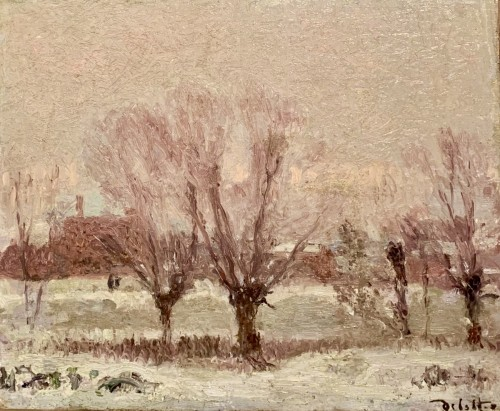 Joseph DELATTRE (1858-1912) - Norman landscape under the snow