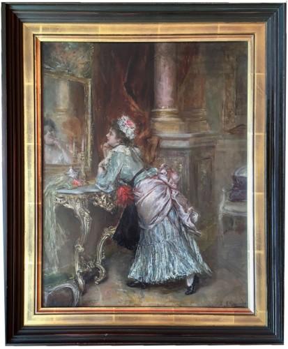 Eduardo Leon GARRIDO (1856-1949) - Young elegant in front of her mirror