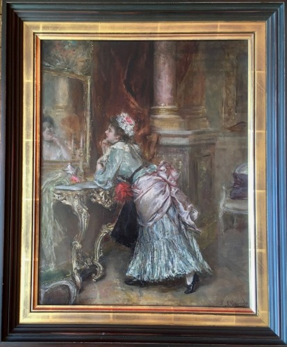 Eduardo Leon GARRIDO (1856-1949) - Young elegant in front of her mirror - Paintings & Drawings Style