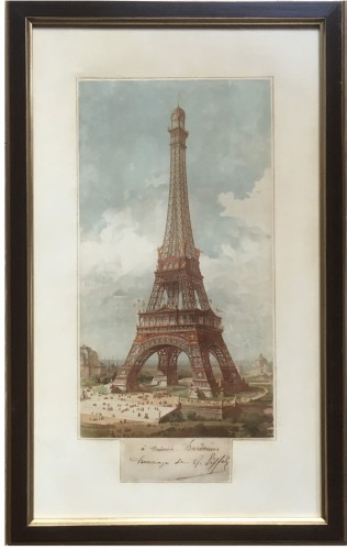 Chromolithograph signed by Gustave Eiffel in the margin
