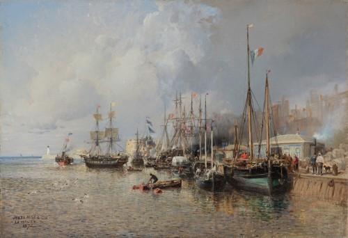 Jules Achille NOËL (Quimper 1810-1881 Alger) View of Le Havre 1872