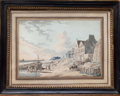 PÉRIGNON Nicolas (Nançy 1727-1782 Paris) - Views from banks of Seine - Paintings & Drawings Style Louis XV