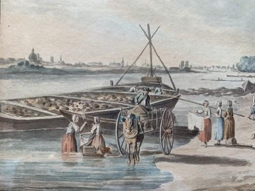 Paintings & Drawings  - PÉRIGNON Nicolas (Nançy 1727-1782 Paris) - Views from banks of Seine