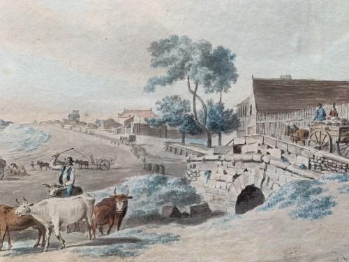 Antiquités - PÉRIGNON Nicolas (Nançy 1727-1782 Paris) - Views from banks of Seine