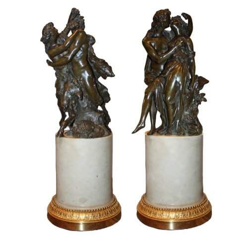 Pair of bronze groups with brown patina attributed to j-ph. dumont