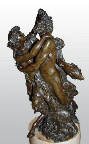 Sculpture  - Pair of bronze groups with brown patina attributed to j-ph. dumont