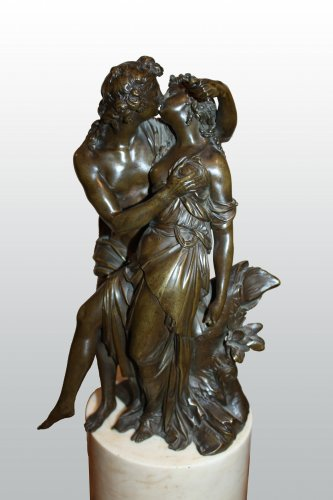 18th century - Pair of bronze groups with brown patina attributed to j-ph. dumont
