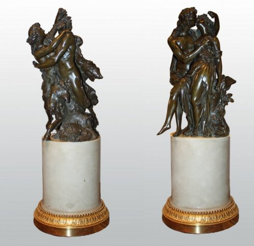 Pair of bronze groups with brown patina attributed to j-ph. dumont -