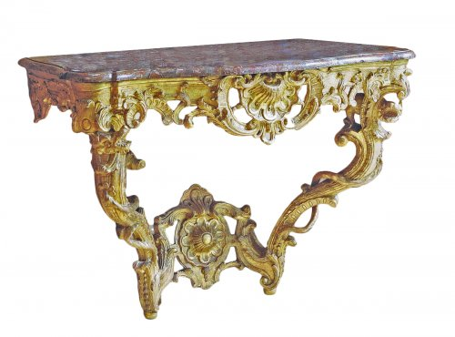 """A matched pair of louis xv consoles """"aux chimères"""""""