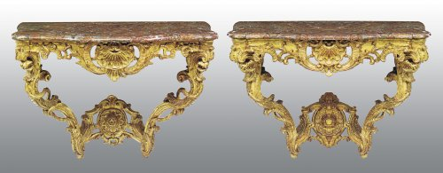 "A matched pair of louis xv consoles ""aux chimères"" - Furniture Style Louis XV"
