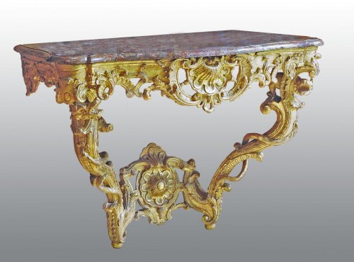 "Furniture  - A matched pair of louis xv consoles ""aux chimères"""