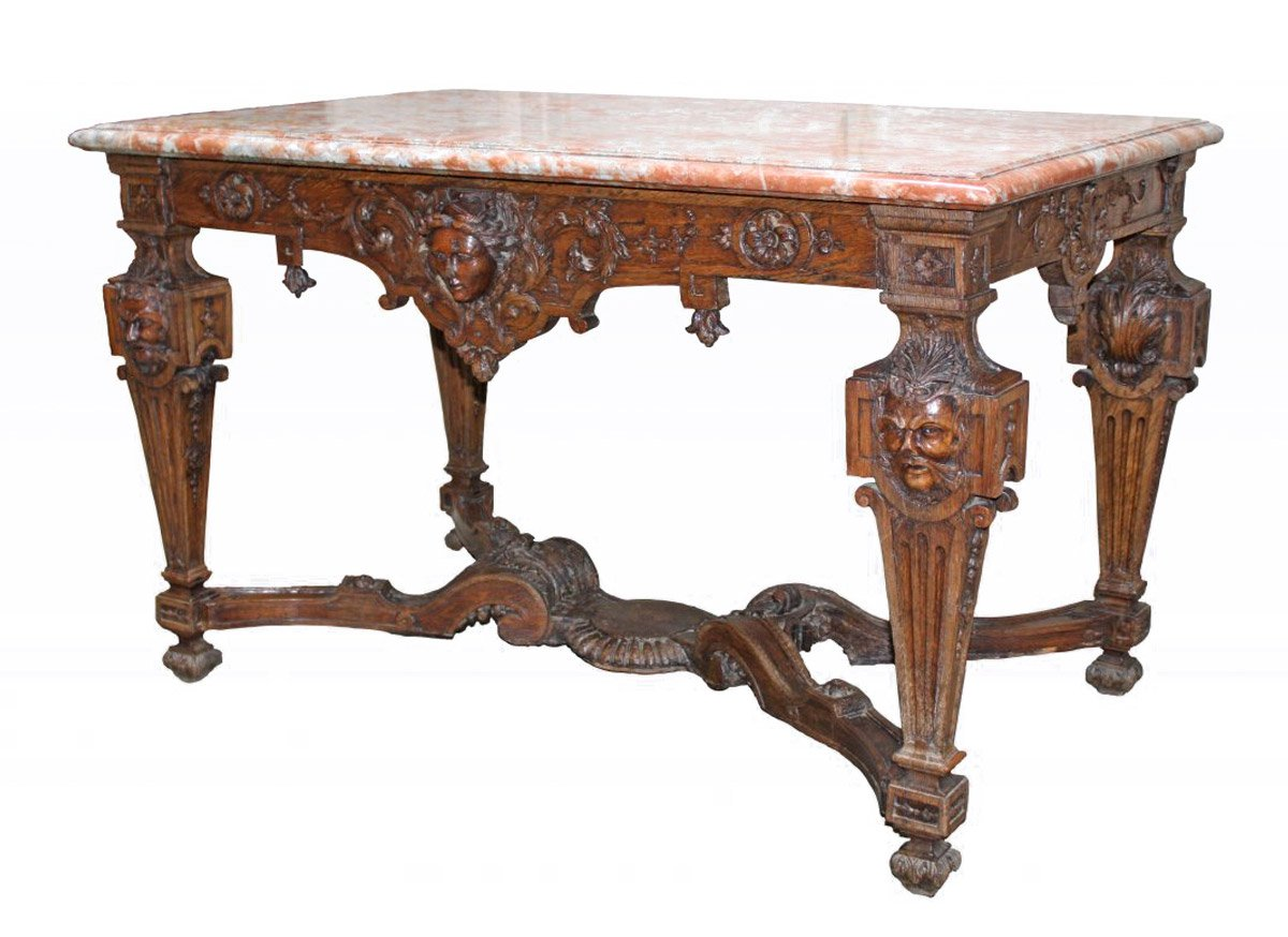 A Louis Xiv Oak Wood Console Table Aux Mascarons