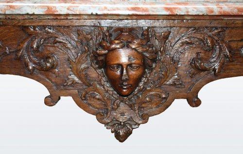 """Furniture  - A Louis XIV oak-wood console table """"aux mascarons"""""""