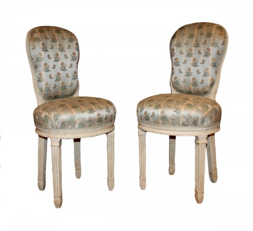 "Rare pair of Louis XVI "" chaises de musicien """