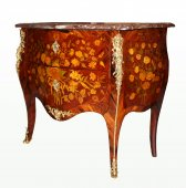 Small Louis XV floral marquetry commode by adrien fleury