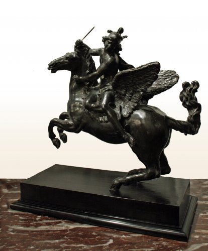 Fama and Mercury riding Pegasus - Pair of Louis XIV darkened-lead equestrian Sculptures - Sculpture Style Louis XIV
