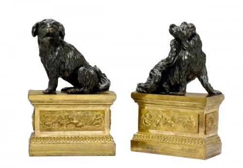 "Rare pair of Louis XVI Chenets ""aux Cavaliers King Charles"""