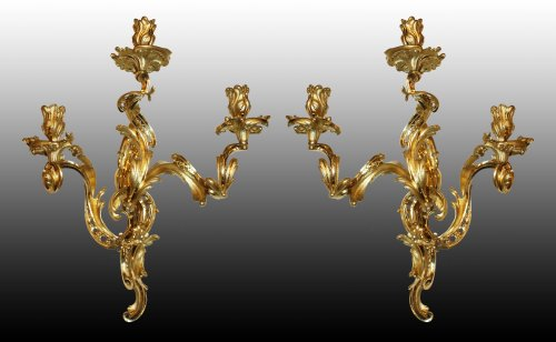 A large pair of Louis XV Wall-Lights