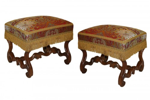 A pair of natural-wood Tabourets