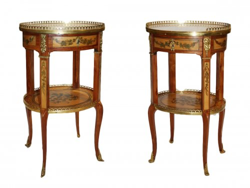 A matched pair of Transitional Tables de salon by Charles Topino