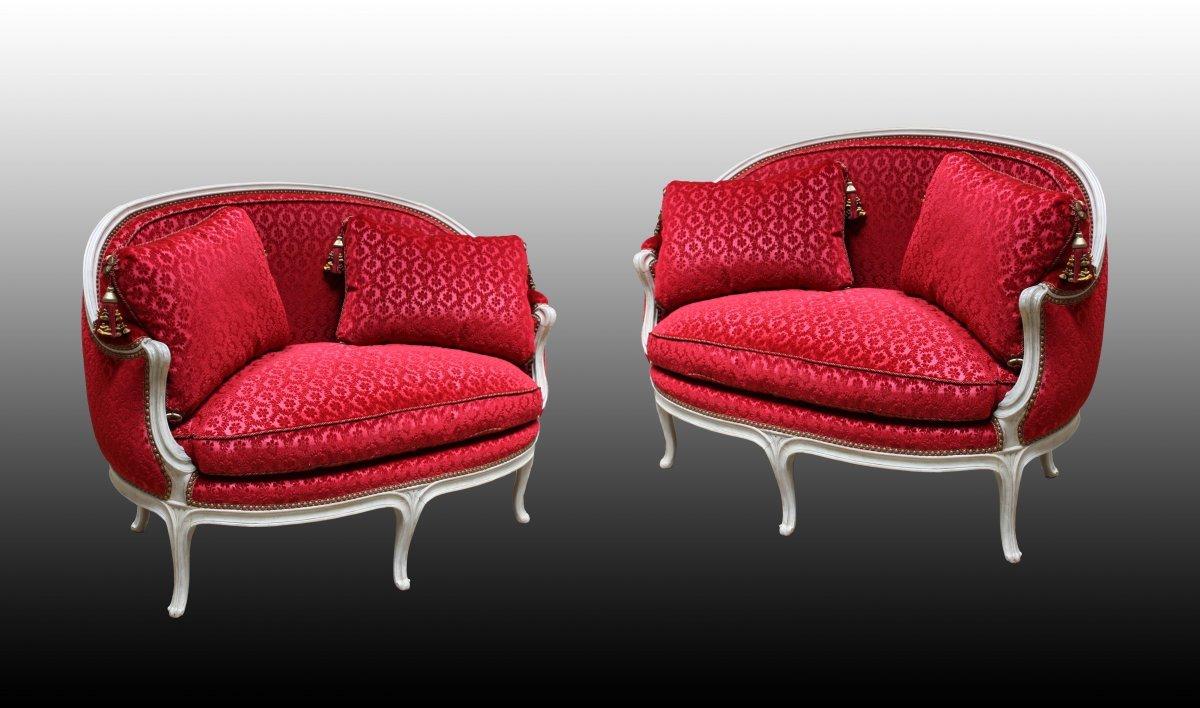 paire de petits canap s en ottomane attribu s fran ois. Black Bedroom Furniture Sets. Home Design Ideas