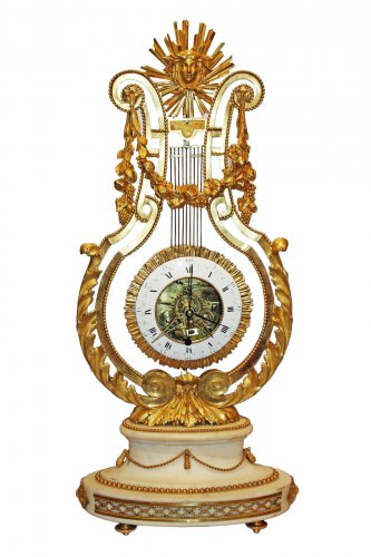 A Louis XVI Lyre Mantel Clock by Bourdier à Paris