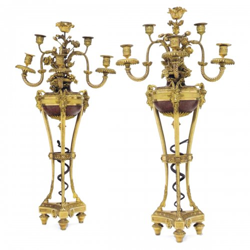 "A pair of Louis XVI six-light Candelabra  ""en Cassolette"""