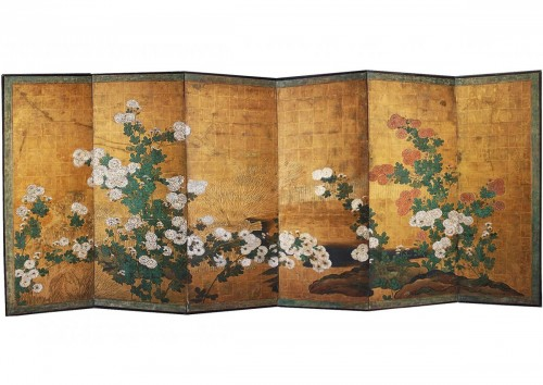 A six-panel chrysanthemums folding screen