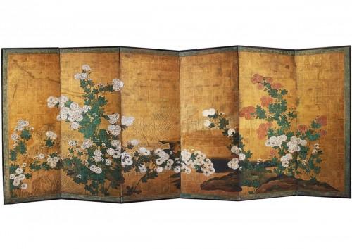 A six-panel chrysanthemums folding screen