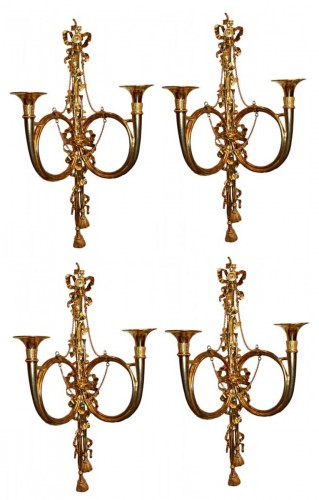 Set of four Hunting Horn Wall Lights