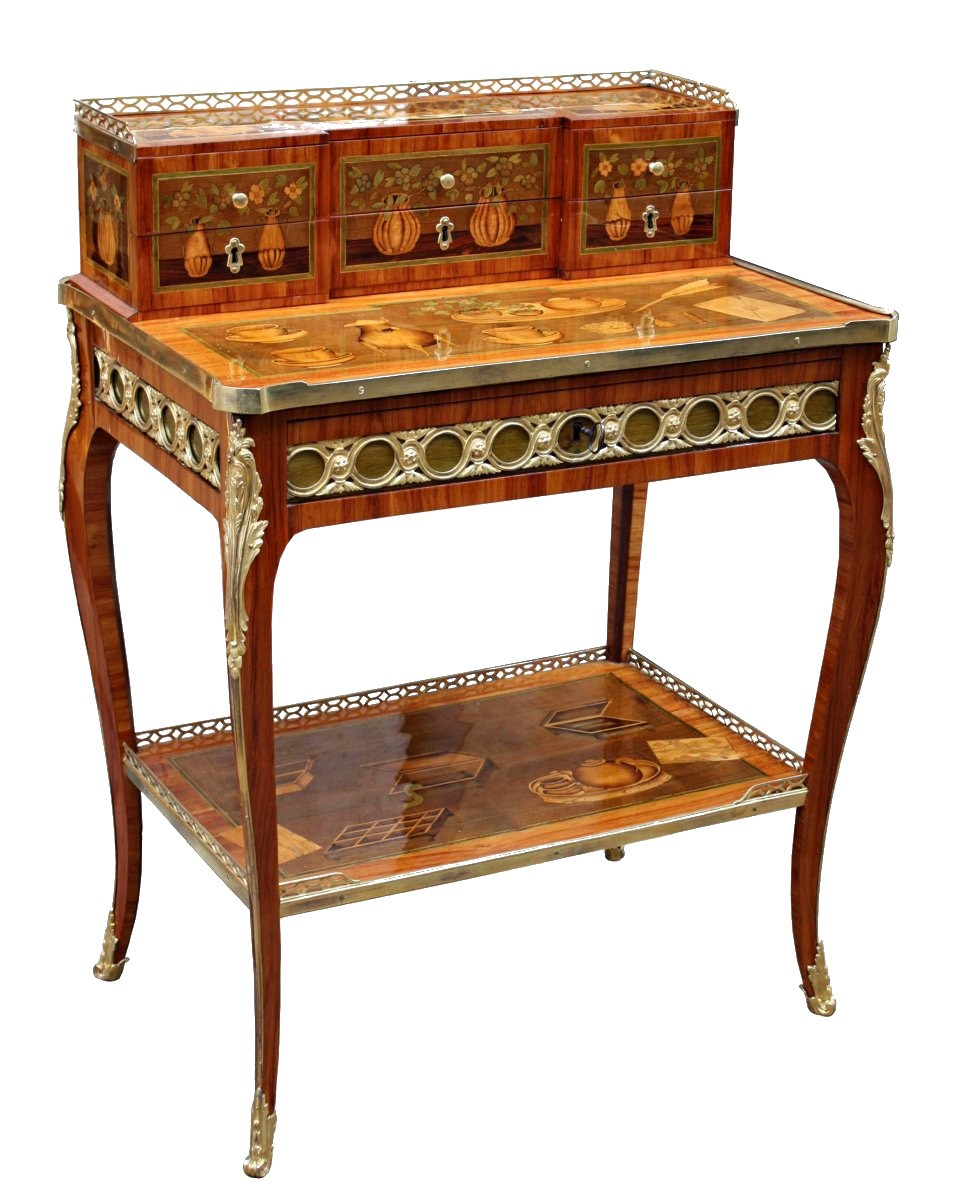 A transitional louis xv louis xvi ormolu mounted marquetry for Meuble bonheur du jour