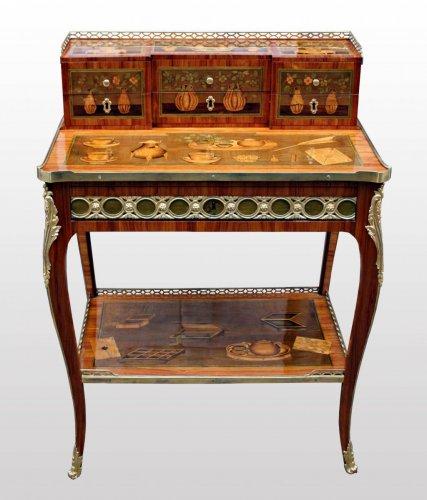 Antiquités - A Transitional Louis XV/Louis XVI  ormolu-mounted marquetry Bonheur du Jour